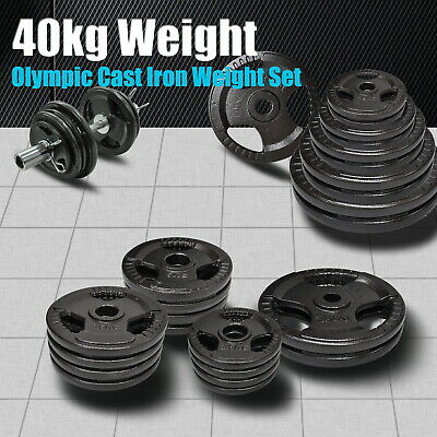 Total 40Kg Olympic Cast Iron Weight Plate Set - Energetics Weight Plates Set