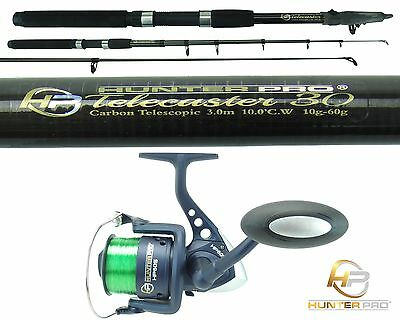 6ft - 10ft Telescopic Fishing Rod & Reel Carbon Travel Pike Bass spinning Rod