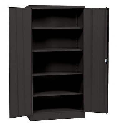 "Metal Storage Cabinet With Steel Locking Doors Lock Garage Shop 72"" Tall Black"