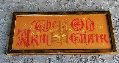 Antique Victorian Grain Painted Frame,The Old Arm Chair Motto Embroidery Sampler