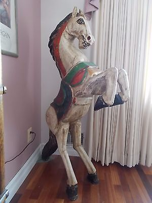 "57"" Stylized Vintage Hand-Carved Primitive Wood Art Rearing Horse Statue"