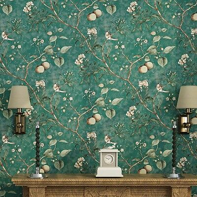 10M Retro Apple Tree Flowers and Bird Wallpaper pastoral Dark Green Coffee Color