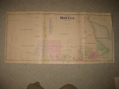 Huge Antique 1875 Howell North Part Livingston County Michigan Handcolored Map