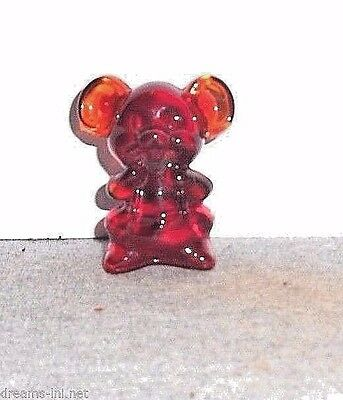 RED GLASS SITTING MOUSE PAPERWEIGHT FIGURINE Hand-Pressed By Boyd Art Glass 1992
