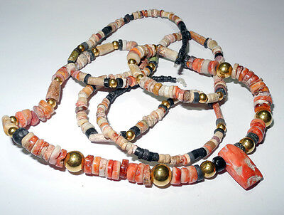 PRE COLUMBIAN MOCHE Shell & Gold beads string - circa 200-1000 AD - 32 inches