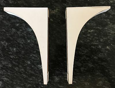 "Vintage Wood Laminate Corbels - White  4.5"" tall -7.5"" Shelf brackets 1970's"