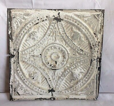 "Reclaimed 1890's 12"" x 12"" Antique Tin Ceiling Tile Metal White Vintage 220-17"