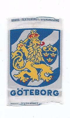 Gothenburg Göteborg Sweden Old Woven Travel Souvenir Patch Coat of Arms Lion