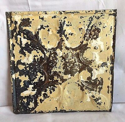 "1890's 12"" x 12"" Antique Tin Ceiling Tile Reclaimed 223-17 Metal Tan Anniversary"