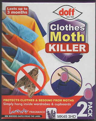 Pack of 2 Doff Clothes Moth Killer - Hangs in Wardrobe - Free Post and Packing