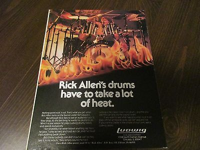 Ludwig Drums - Rick Allen - Def Leppard -  1980's Magazine Print Ad