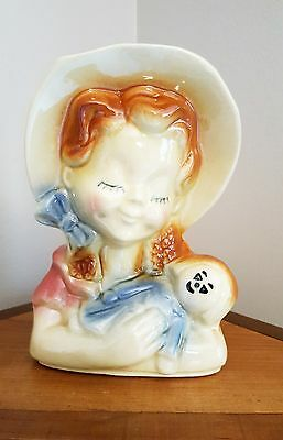 Vintage Shawnee Pottery Vase Planter Girl with Doll