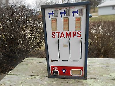 Vintage 1940s Porcelain Coin Operated STAMP MACHINE - NEAT OLD DECOR