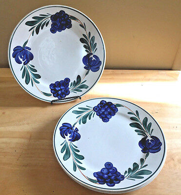 Set of 4 Plates Blue Flowers with Grapes or Berries Green Leaves Stick Spatter