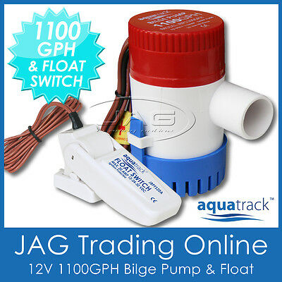 KIT AQUATRACK 1100 GPH BILGE PUMP & FLOAT SWITCH - Boat/Marine/Water/Submersible