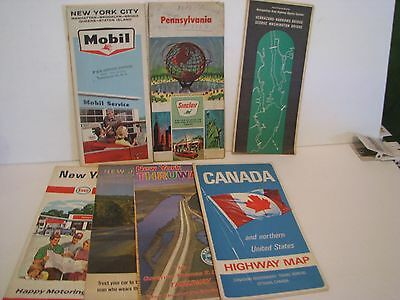 Lot of 7 Vintage Road Maps   PENNSYLVANIA     NEW JERSEY NEW YORK  CANADA