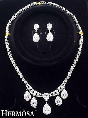 Hot!white Topaz 925 Sterling Silver Women Wedding Necklace Jewelry Set Xk006