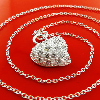 X+A976 Genuine Real 925 Sterling Silver S/f Solid Ladies Heart Necklace Chain