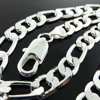 A842 Genuine Real 925 Sterling Silver S/f Solid Mens Curb Cuban Necklace Chain