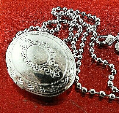 Necklace Chain Real 925 Sterling Silver S/f Bead Link Antique Locket Pendant