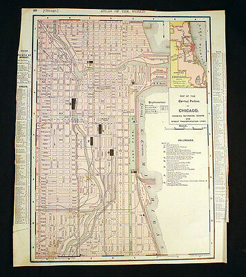 Antique Map 1895 Central Chicago and Railroads Or State of Illinois