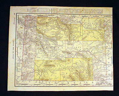 Antique Map 1895 State of Wyoming or State of Utah