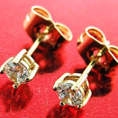 559 Genuine Real 18K Yellow G/f Gold Diamond Simulated Mens Unisex Stud Earrings