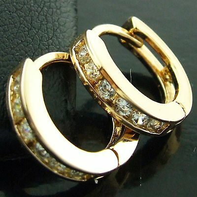 An571 Genuine 18K Yellow G/f Gold Diamond Simulated Kids Baby Girls Earrings