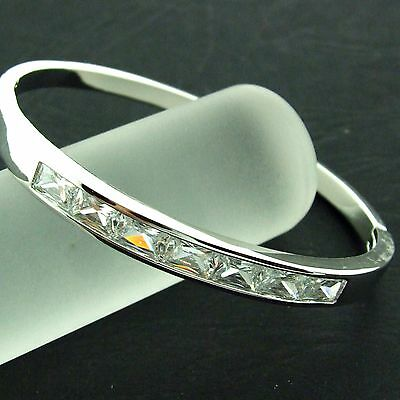 An413 Genuine Real 18K White G/f Gold Solid Diamond Simulated Hinged Cuff Bangle