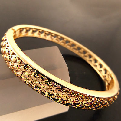 A281 Genuine Real 18K Yellow G/f Gold Ladies Antique Style Cuff Bangle Bracelet