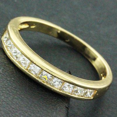 An622A Genuine Real 18K Yellow G/f Gold Diamond Simulated Ladies Eternity Ring
