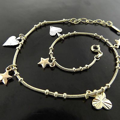A611 Genuine Real 18K Yellow G/f Gold Ladies Heart Star 3 Leaf Clover Anklet
