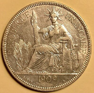 French Indo-China - Piastre de Commerce - 1909A - KM-5a.1 - About Uncirculated