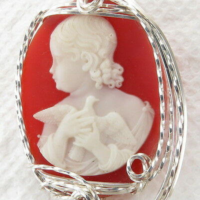 Lady Dove Cameo Pendant 925 Sterling Silver Jewelry Red Resin
