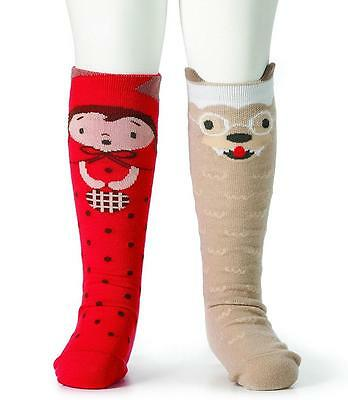 New Baby Toddler Girl Story Time Knee Socks RED RIDING HOOD Mismatched Non-Skid