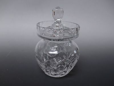 "Cut Crystal Glass Jam, Marmalade Condiment Jar with Lid 5"" High"