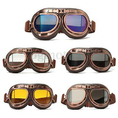 Retro Pilot Vintage Motorcycle Helmet Eyewear Goggles Riding Glasses Cruiser