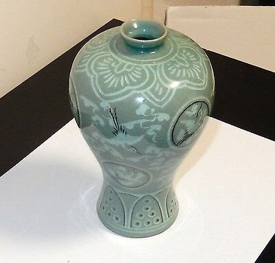 Small Celadon Crane Green Glazed Ceramic Pottery Korean Vase Signed By Maker