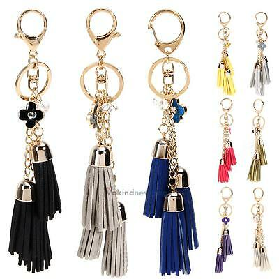 Women Pearl Leather Tassel Pendants Keychain Handbag Bag Key Chain Ring Keyring