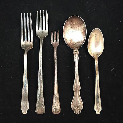 Vintage Lot Of 4 Rogers Silverplate & 1 Westmoreland Sterling Silver Spoons-Fork