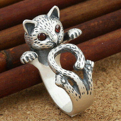 Retro Silver Lovely Cat Long Tail Ring For Women Gift Adjust Knuckle Midi Ring