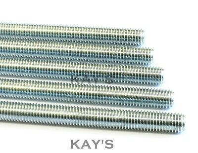ALL THREAD FULLY THREADED ROD ZINC PLATED STUDDING BAR 300mm & 1m LENGTHS M3-M30