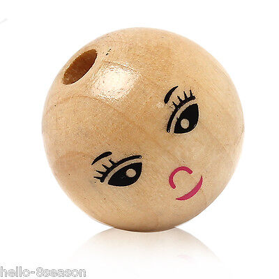30PCs Natural Colour Smiling Face Pattern Round Wood Beads 22mm