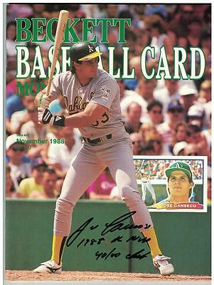 Jose Canseco AUTOGRAPH BECKETT OCTOBER 1988 MONTHLY MAGAZINE SIGNED 1988 MVP