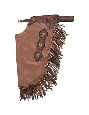 Tough-1 Western Chinks Premium Leather Filigree Show Fringe 63-900