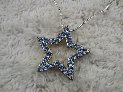 Silvertone Blue Rhinestone Star Pendant Necklace (C39)