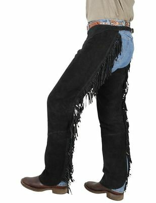 Tough-1 Western Chaps Adult Contour Suede Fringed Adjustable 63-88