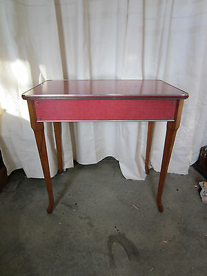 Vintage Red Utility Table w/Wood Legs