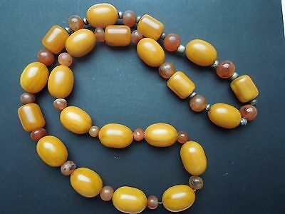 N203 Antique Amber/cornelian?  Asian Necklace  See Descrip