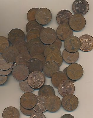 Great Britain  - Large Pennies Lot Of 100 - 1960's Lot Below Cost !